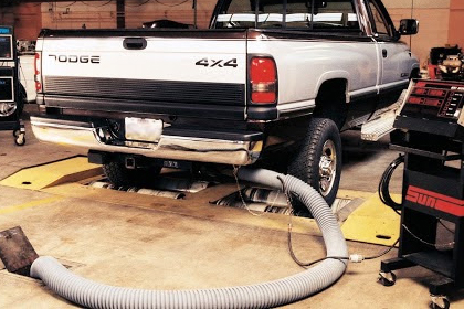 Garage exhaust system and truck application.